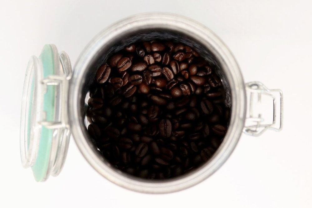 coffee beans in a storage